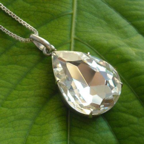 Swarovski crystal pendant necklace, 925 sterling silver pendant chain